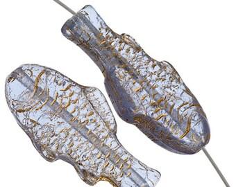 10 Pieces Czech Glass Fish Spacers-ALEXANDRITE GOLD 28x13mm (PG251802)