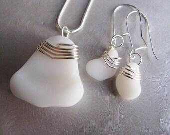 Opaque White Seaglass - Sea Glass Jewelry Set - Milk Glass - Beach Glass Jewelry
