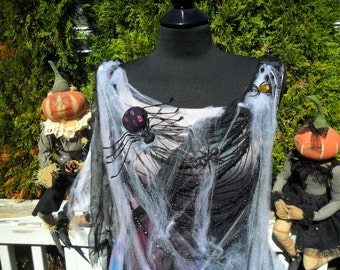 SPIDER QUEEN Halloween Costume Spooky Tattered Cob Webs Treat or Treat