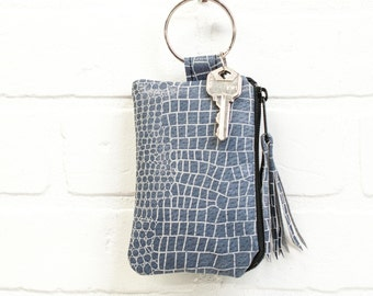 recycled blue leather keychain, wallet, coin purse, key ring, key pouch, tassel, card holder, credit card, handmade, upcycled, stacylynnc