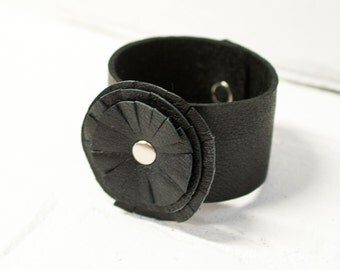 recycled black leather flower cuff, bracelet, flower, handmade, stacylynnc, rivet, boho, leather flower, black leather, cuff, jewelry