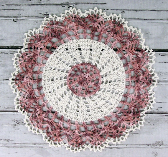Lovely Crocheted Antique White Shades of Tan Brown Doily Table Topper - 13""