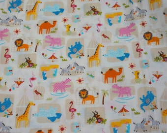 Zoo print  print japanese fabric 50 cm by 106 cm or 19.b by 42 inches   nc24