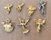 ANGELS Destash Lot of Gold Guardian Angel Lapel PINS (7)