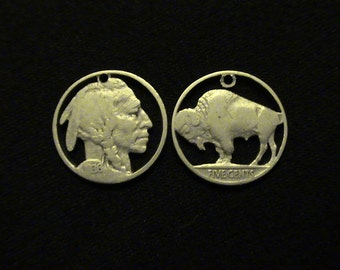 cut coin jewelry set - Buffalo and Indian Chief pendants - 1920 and 1936 - LOW PRICE