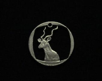 South Africa - cut coin pendant - Kudu Deer - 1989