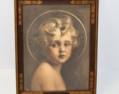 The Light of the World Lithograph of the Painting by Charles Bosseron Chambers Framed with an Art Deco Frame, circa 1920s -1930s