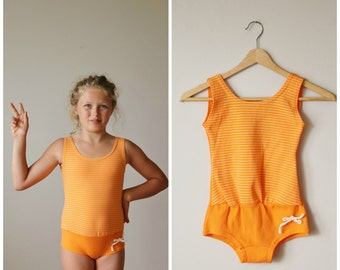 NOS, 1960s Tangerine Stripe Swimsuit>>> Girls Size 10/12