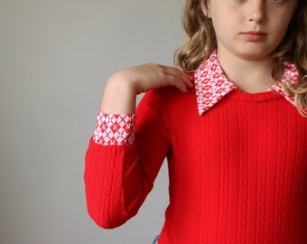 1970s Red Ribbed Bodysuit~Girls Size 8/10