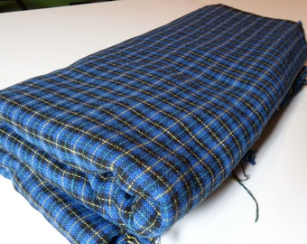 """VINTAGE Blue with yellow and turquoise plaid. 3.5 yards x 60""""wide."""