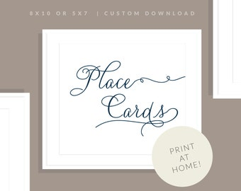 Navy Printable Place Card Sign | Printable Place Card Sign | Downloadable Wedding Sign | Reception Sign | Jessica Collection