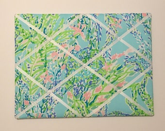 New memo board made with Lilly Pulitzer Sky Blue Heaven fabric