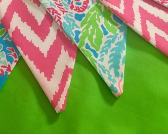 Custom Flag Banner, Bunting made with Lilly Pulitzer Lets Cha Cha and Hotty Pink Get Your Chev On fabric
