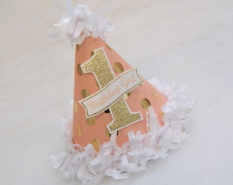 Peach and Gold Glam Polka Dot Birthday Party Hat