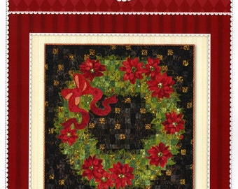"""Clearance PATTERN CHRISTMAS GLIMMER Wreath Quilt 45.5"""" square pattern only"""