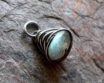 Labradorite Sterling Silver Wire-Wrapped Pendant - Petite Labradorite Pendant Only - Must Purchase Chain Separately