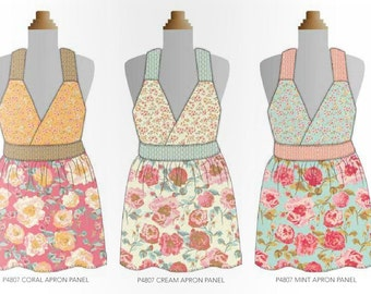 Chatsworth Apron Panel in Coral ~ Gorgeous Florals ~Designed by Emily Taylor for Riley Blake Designs