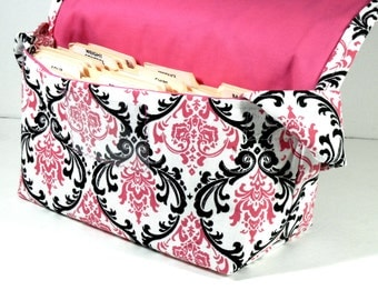 Mega Large Coupon Organizer Holder Black and Candy Pink Duck Canvas Fabric Damask PinK Lining