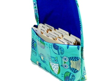 Coupon Holder, Coupon Organizer, Coupon Purse, Budget Wallet, Receipt Holder, Retro Owls in Teal
