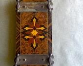 Vintage Tie Press Inlaid Wood Marquetry Design Flowe Botanical Press