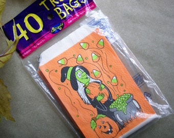 Vintage Halloween Treat Bags from 1995, Package of 40, Witch, Cauldron and Candy Corn Graphics, Textured Paper, Orange and Purple, NOS