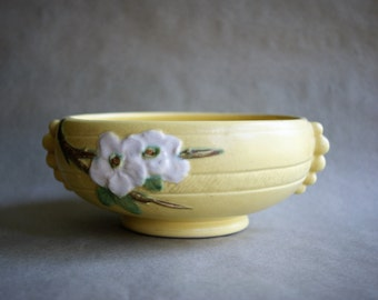 Vintage Weller Flower Bowl Vase Rudlor Pattern Dotted Tab Handles Yellow Glaze with White Dogwood Flowers 1930s Art Pottery
