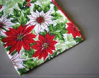 Vintage Christmas Runner Red and White Poinsettias Printed on Cotton 1960's Era Table Cover Tablecloth Holiday Decor