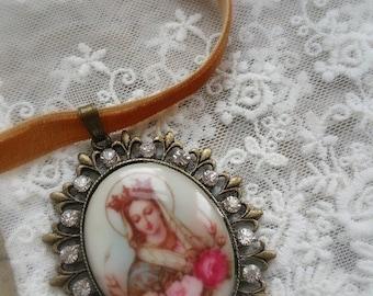 """Red brown  garnet velvet porcelain cameo """"Queen Virgin Mary """""""