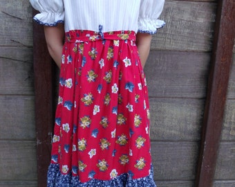 Vintage Children's Day Dress, Girls Vintage Calico Prairie Dress 70's