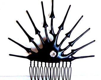 Spike hair comb Black Gothic Clock hand Hair Comb with crystal ornate hair Ornament- Through my heart