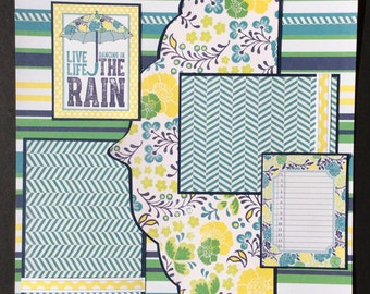 Scrapbook Layout, Premade Page, Single Page Layout, Rain Layout, Umbrella, 12x12 Scrapbook Layout Page,
