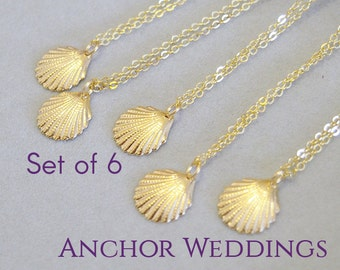 Destination Wedding, Bridesmaid Gifts with Thank You Cards, Set of 6 Seashell Bracelets, Beach Wedding, Sea Shell Bracelets, Bridal PB216