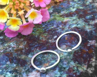 Simple silver Hoops- lightweight silver hoop earring- Small - 1/2 inch single hoop