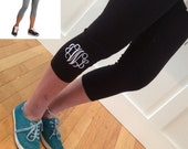 SALE - PERSONALIZED Yoga Pants - embroidered - leggings - monogrammed - Capri Gray or Black