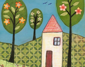 Collage House Painting, Art Print on Wood