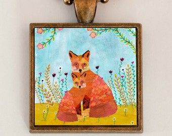 Red Fox Necklace, Fox Pendant, Animal Lover Gift, Red Fox woodland Jewelry, Unique handmade Fox Art Gift