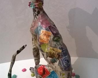 Original Greyhound Dog Papier Mache Sculpture