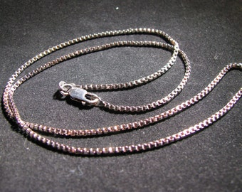 Hand Oxidized Sterling Silver 1.5mm Venetian Box Chain 20""