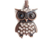 1 Pendant, Rhinestone Owl Jewelry Making Supply, Christmas Gift, Crytal Rhinestones & Antique Red Copper Color alloy Metal