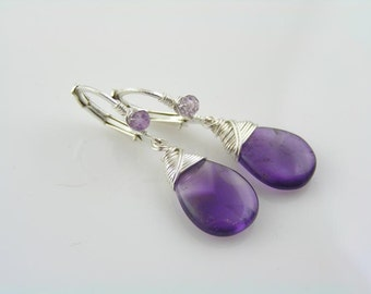 The Essential Amethyst Earrings, Wire Wrapped Silver Lever Back Ear Wires, February Birthstone Earrings