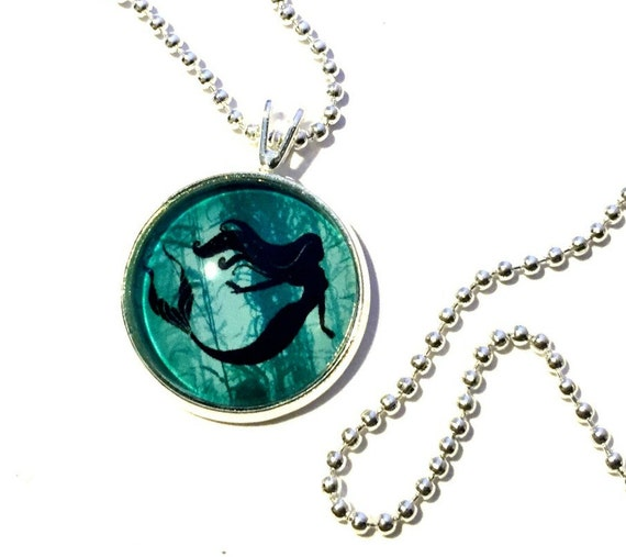 Mermaid Necklace, Aqua Turquoise Mermaid Fantasy Pendant, 16mm Aqua Blue Mermaid Pendant with 24 inch Silver Chain, Aqua Mermaid Necklace