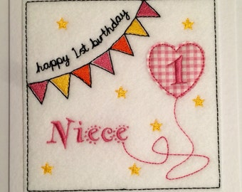 Bunting Birthday Card (Niece) - Embroidered
