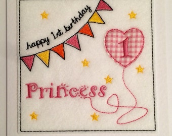 Bunting Birthday Card (Princess) - Embroidered