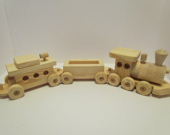 Sale 10 off! Wooden Train Set Large  (3 car) Handmade toy Pine Heirloom Quality all natural no finish Will personalize