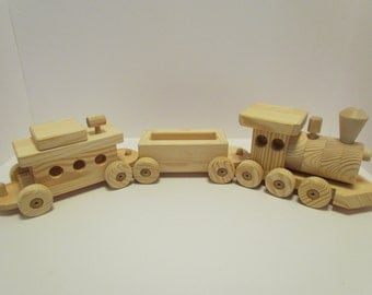 Wooden Train Set Large  (3 car) Handmade toy Pine Heirloom Quality all natural no finish Will personalize up to 8 letters