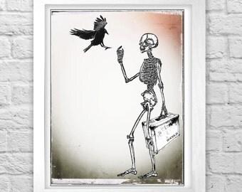 SHOULD skeleton and crow wall art print illustration