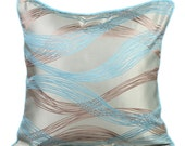 Blue Couch Cushion Covers 16 x 16 Pillow Covers Silk Jacquard Patterned Decorative Pillows - Waves Meet Shore