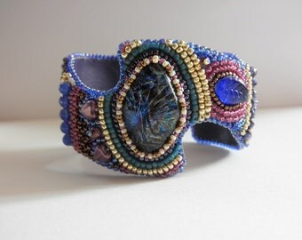 Dichroic glass embroidered cuff by Galeandra