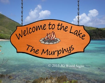 Lake Wood Sign- Personalized Camping Sign with Colored Campfire - Family Name Carved Wood Sign - Custom Carved Redwood - JGWoodSigns - Etsy