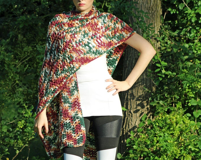 Red and Rust One Sleeved Shawl Crochet Handmade Shawl Unique Asymmetrical Top Sweater Women chic jacket